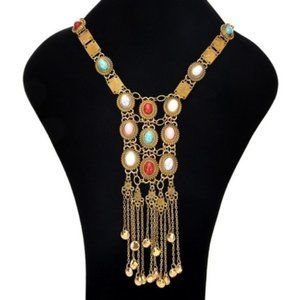 Boho GOLD Tassel Faux Stones Necklace